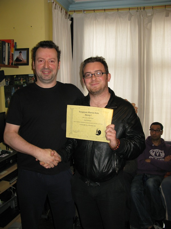 Paul Andrews receiving his level 3 from Sifu Smith