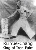 Grand Master Ku Yue-Chang demonstrating Iron Palm